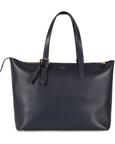 Smythson Burlington Buckle Tote Bag Navy Deerskin  i gruppen Assesoarer / Vesker / Totebags hos Care of Carl (13138810)
