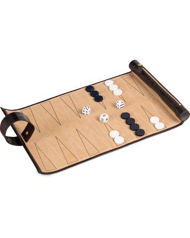 Smythson Brown Mara Travel Backgammon Roll Brown Printed Calf