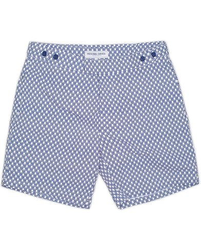 Frescobol Carioca Printed Bat Tailored Swim Shorts Navy Blue