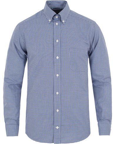 Eton Slim Fit Button Down Check Shirt Blue