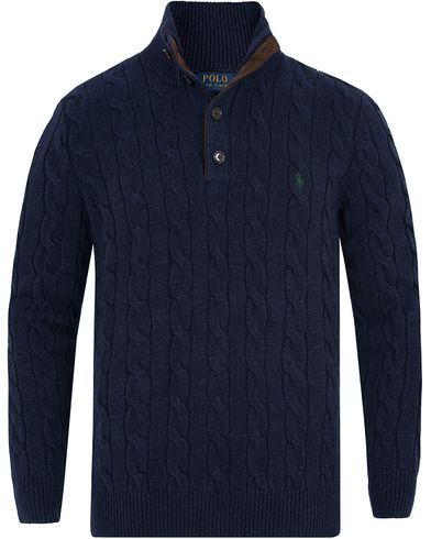 Polo Ralph Lauren Knitted Cable Tussah Silk Half Button Navy Heather