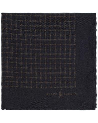 Polo Ralph Lauren Print Check Pocket Square Black/Olive