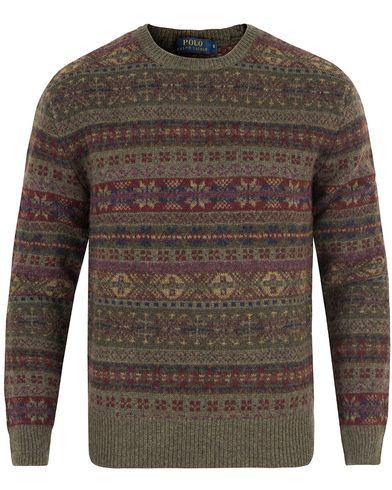 Polo Ralph Lauren Knitted Wool Sweater Olive Fairisle