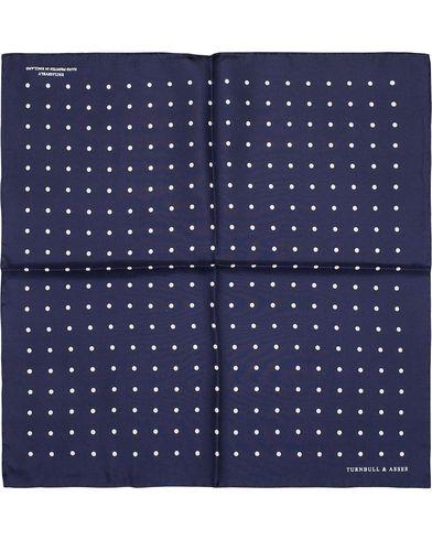 Turnbull & Asser Silk Dot Handkerchief Navy