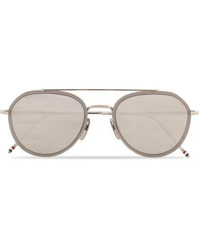 Thom Browne TB-801 Sunglasses Shiny Silver/Dark Grey