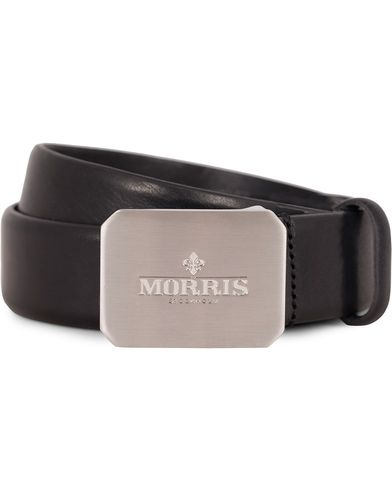 Morris Plated Logo Leather 3,5 cm Belt Black i gruppen Assesoarer / Belter / Umønstrede belter hos Care of Carl (13245911r)