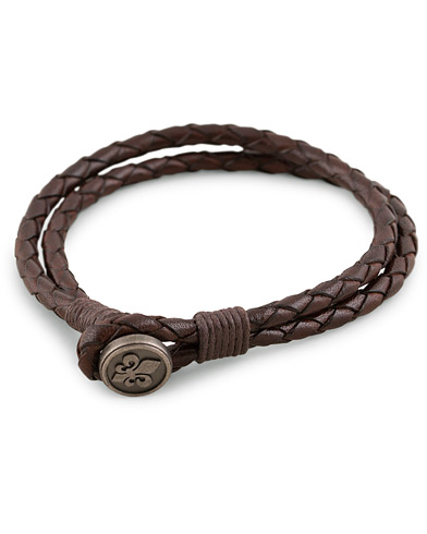 Morris Braided Logo Bracelet Dark Brown  i gruppen Assesoarer / Armbånd hos Care of Carl (13246110)