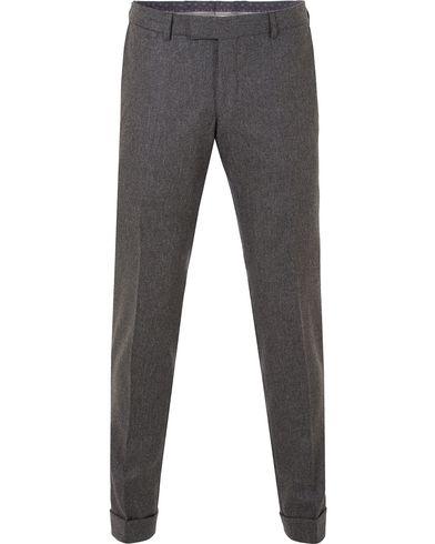 Oscar Jacobson Dean Turn Up Flannel Trousers Dark Grey