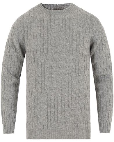 Johnstons of Elgin Cashmere Cable Crew Neck Light Grey