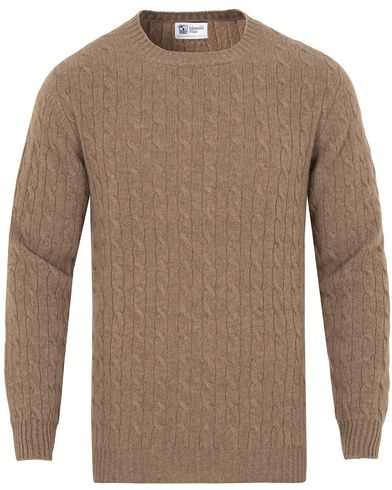 Johnstons of Elgin Cashmere Cable Crew Neck Otter Beige