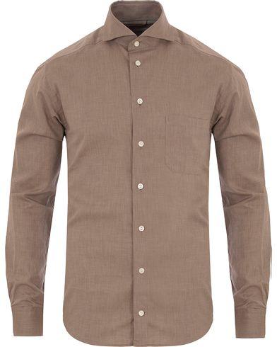 Eton Slim Fit Green Ribbon Flannel Shirt Light Brown