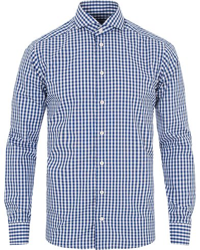 Eton Slim Fit Poplin Check Shirt Blue