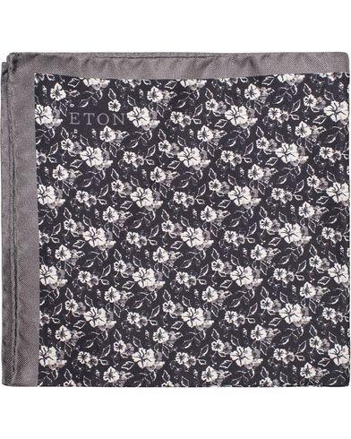 Eton Flower Silk Pocket Square Black