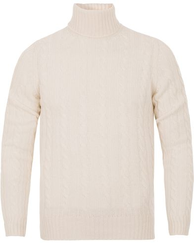 Zanone Cable Wool Geelong Knit Polo White