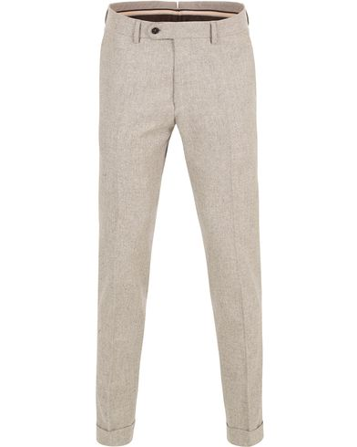 Morris Heritage Fred Flannel Turn Up Super 110 Trousers Camel
