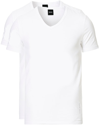 BOSS 2-Pack V-Neck Slim Fit Tee White i gruppen Klær / T-Shirts / Kortermede t-shirts hos Care of Carl (13453811r)