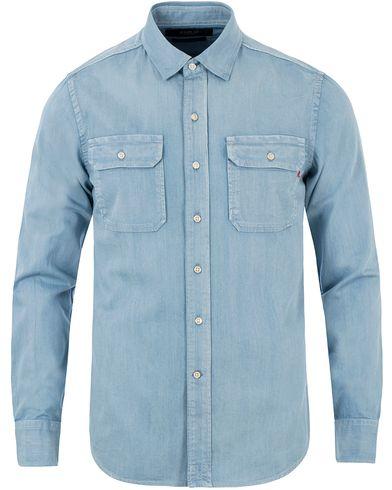 Replay M4963 Denim Double Pocket Shirt Light Blue