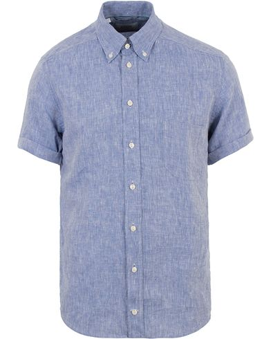 Eton Slim Fit Linen Short Sleeve Shirt Light Blue
