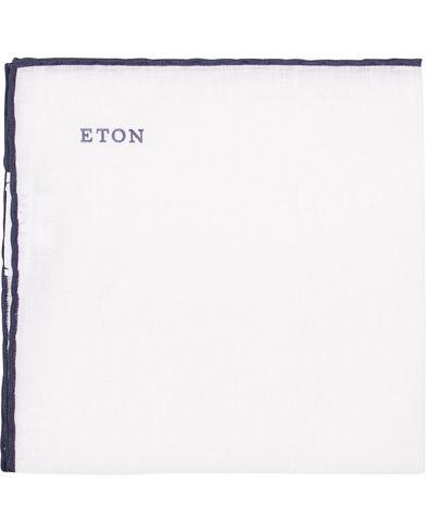 Eton Linen Hand Rolled Edge Pocket Square Dark Blue