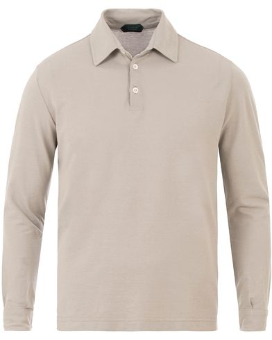 Zanone Ice Cotton Long Sleeve Polo Light Beige