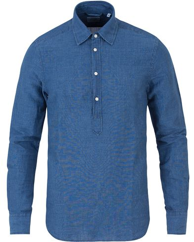 Aspesi Popover Linen/Cotton Shirt Blue