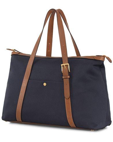 Mismo Holdall Canvas Weekendbag Deep Navy/Cuoio