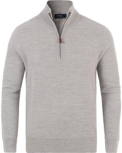 Polo Ralph Lauren Cotton/Silk/Cashmere Half Zip Honeycomb Grey Heather