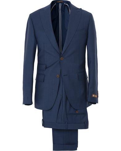 Morris Heritage Frank Wool Solid Vitale Barberis Peak Lapel Suit Navy