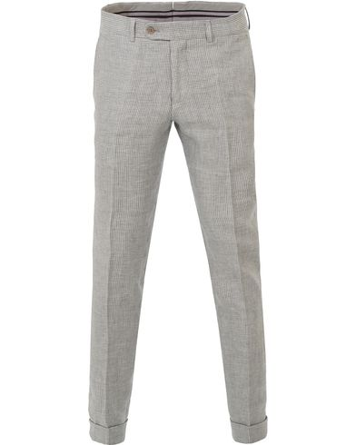 Morris Heritage Frank Minicheck Linen Trousers Grey