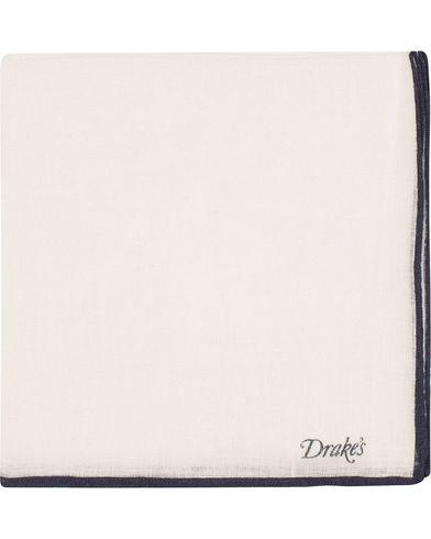 Drake's Linen Shoestring Pocket Square White