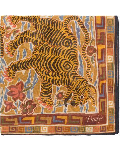 Drake's Cotton/Modal Tiger Printed Pocket Square Navy/Yellow