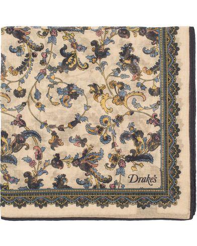 Drake's Cotton/Modal Dancing Fern Printed Pocket Square Beige