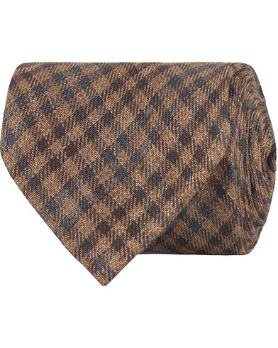 Drake's Linen Check 8 cm Tie Brown