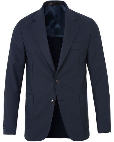 Oscar Jacobson Epic Jersey Unconstucted Wool Stretch Blazer Navy