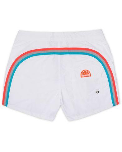 Sundek Rainbow Mid Length Swim Shorts White