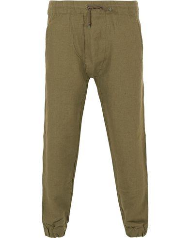 Monsieur Lacenaire Linen Trousers Forest Green