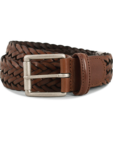 Anderson's Woven Leather 3,5 cm Belt Tanned Brown