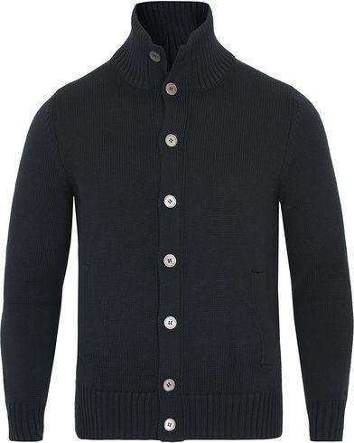 Zanone Virgin Merino Wool Cardigan Navy