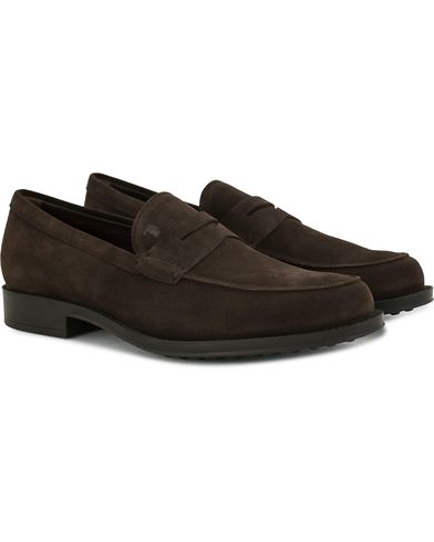 Tod's Mocassino Penny Loafers Dark Brown Suede