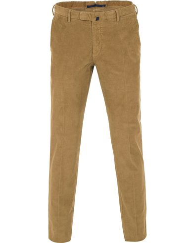 Incotex Slim Fit Garment Dyed Baby Corduroy Trousers Light Brown