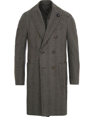 Lardini Double Herringbone Wool Coat Grey