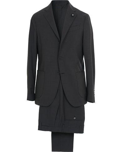 Lardini Travelling Micro Check Suit Navy