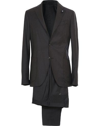Lardini Travelling Flannel Suit Dark Grey