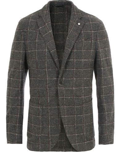L.B.M. 1911 Jack Regular Wool Check Blazer Long Grey