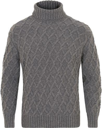 Inis Meáin Trellis Wool Cable Polo Peltro