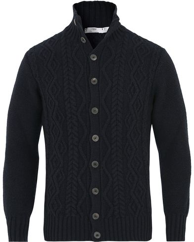 Inis Meáin Button Front Wool Cardigan Nocturne