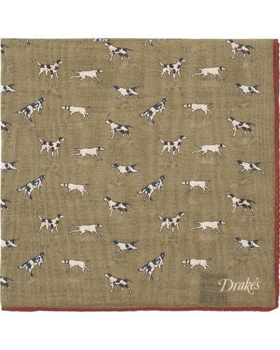 Drake's Wool/Silk Dogs Print Pocket Square Olive