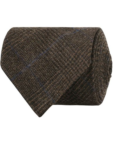 Drake's Wool/Cashmere Check Handrolled 8 cm Tie Brown