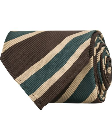 Drake's Silk Stripe Handrolled  8 cm Tie Brown