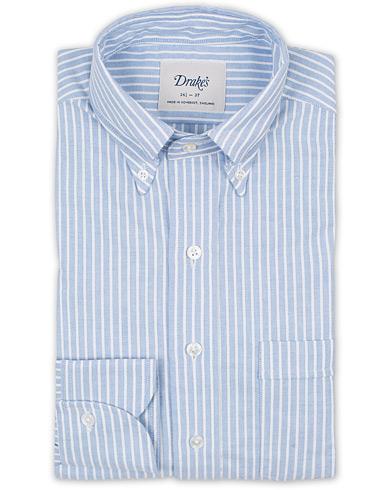Drake's Slim Fit Stripe Button Down Shirt White/Blue